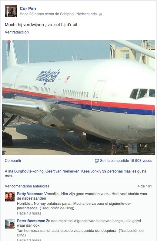 Facebook (Se ve el texto en español debajo de los comentarios porque se ha hecho clic en la opción para ver traducción)