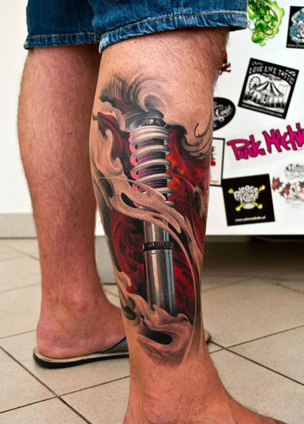 Siempre podrás tener un recambio para el amortiguador de tu coche. tatuajes 3d 39