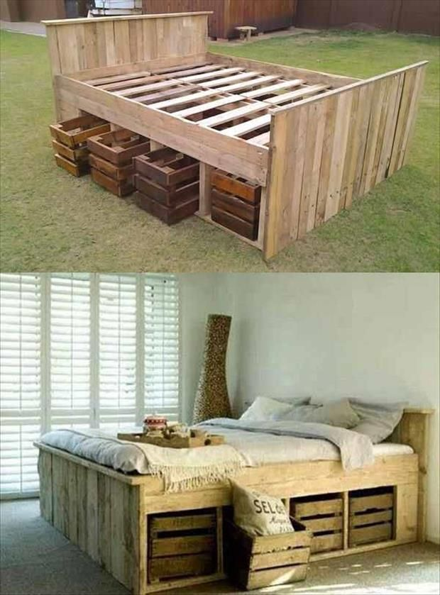 una robusta cama con espacio para almacenaje