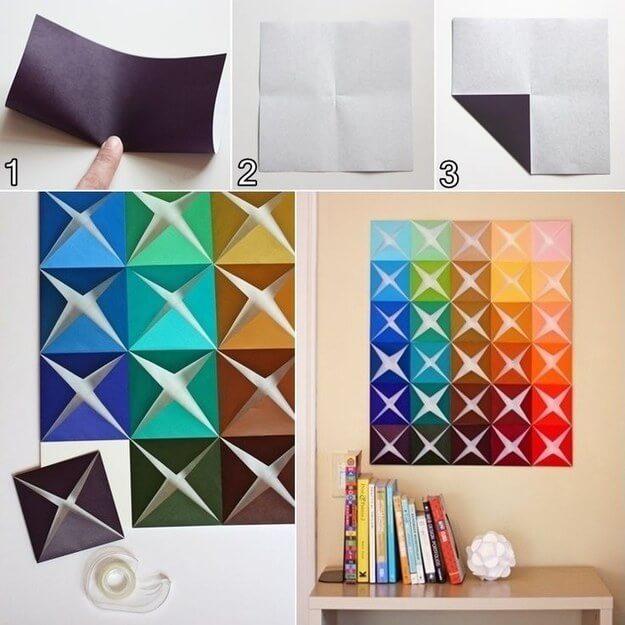 muro artstico de cuadrados de papel