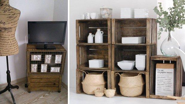 27 fant sticas formas con las que decorar tu casa con - Cajas de madera recicladas ...