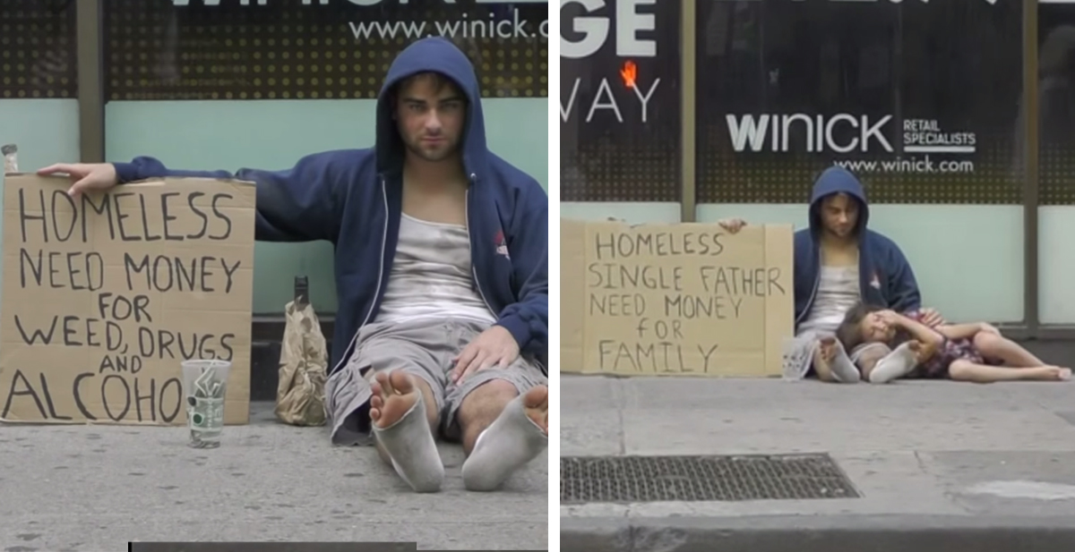 En la imagen de la derecha pide para alcohol y drogas, en la de la izquierda para dar de comer a su hija ¿quien recibirá más dinero?