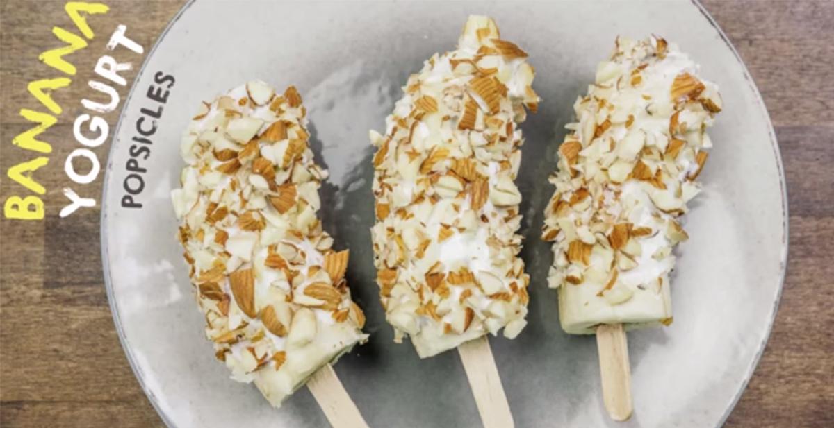 helados de platano y almendra