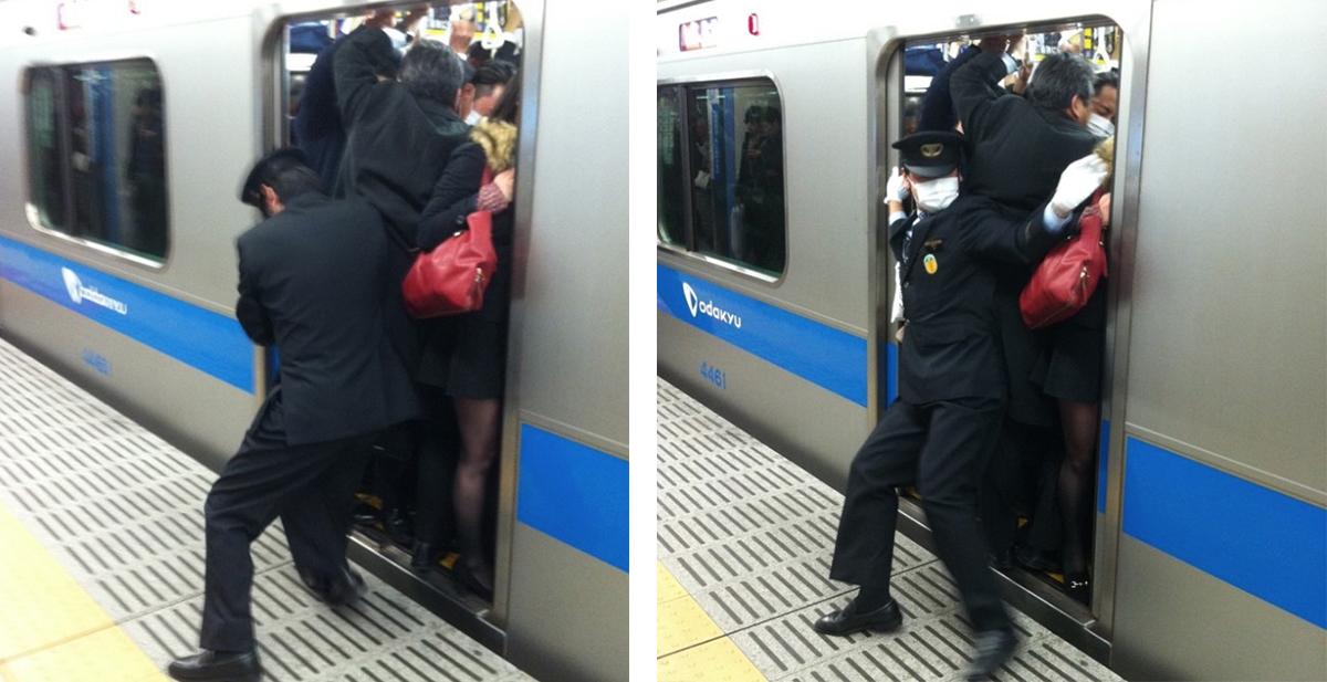empujadores en el metro de japon