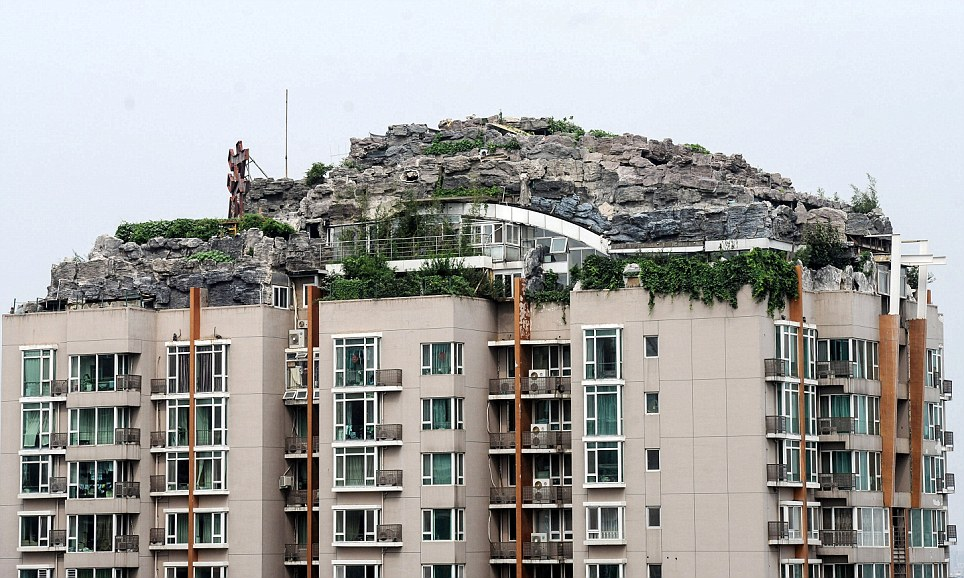 Rocky style villa on the roof of a tower block, Haidian, China - 12 Aug 2013