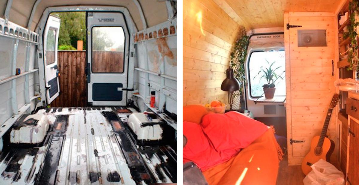 como transformar una vieja furgoneta en una casa con ruedas