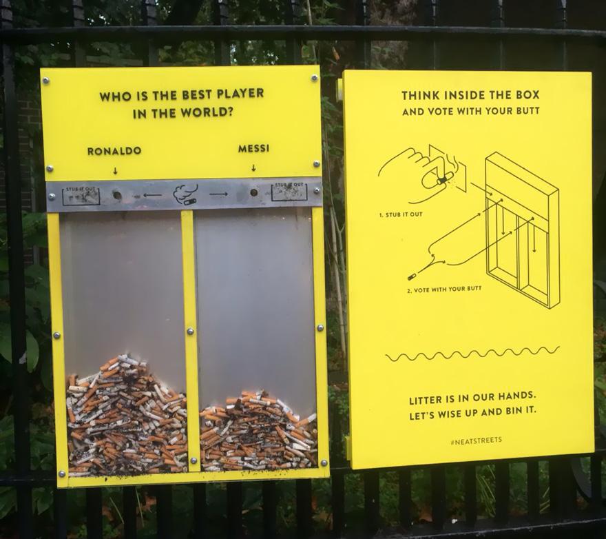 ideas para evitar que la gente tire cigarrillos y chicles al suelo 1