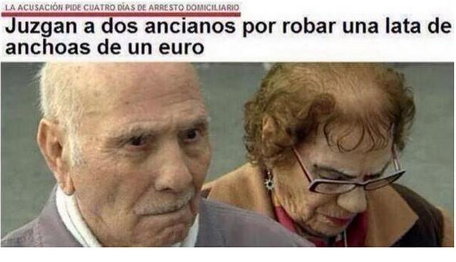 Resultado de imagen de Juzgan a dos ancianos por robar una lata de anchoas de un euro