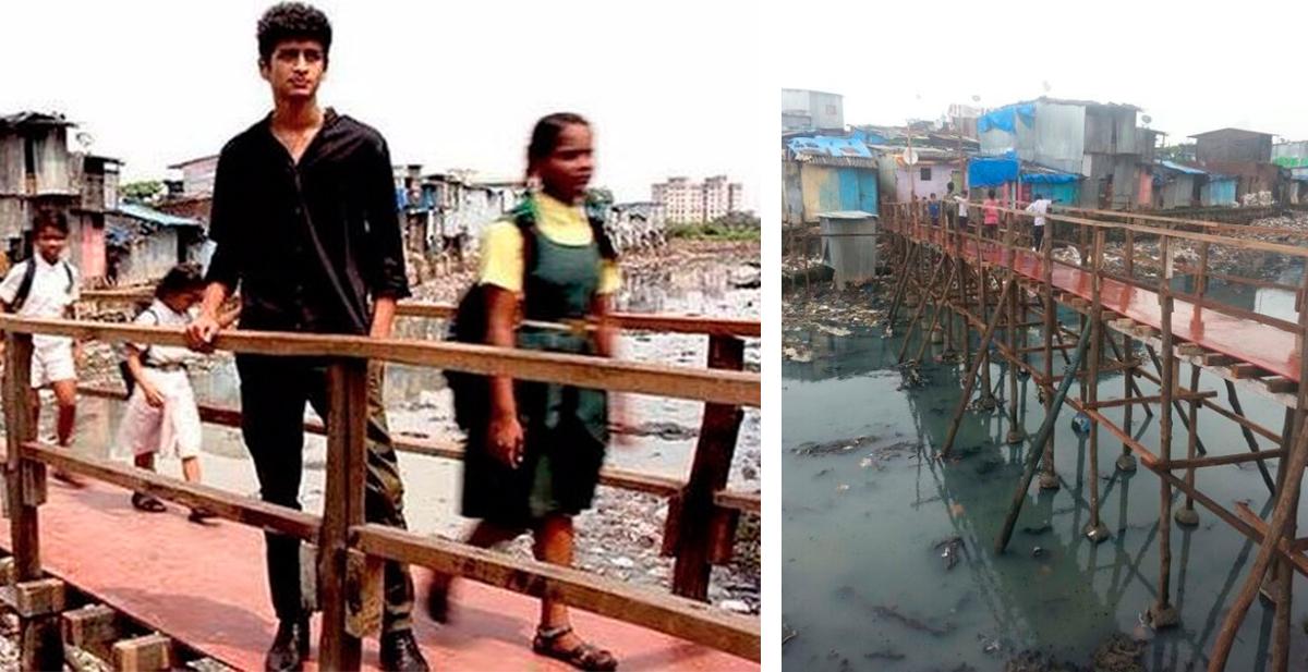 chico construye puente en una acequia para ayudar a lso niños a ir a la escuela