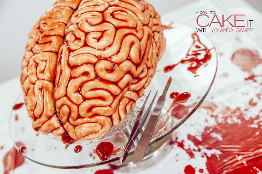 como hacer un pastel de cerebro para halloween 7