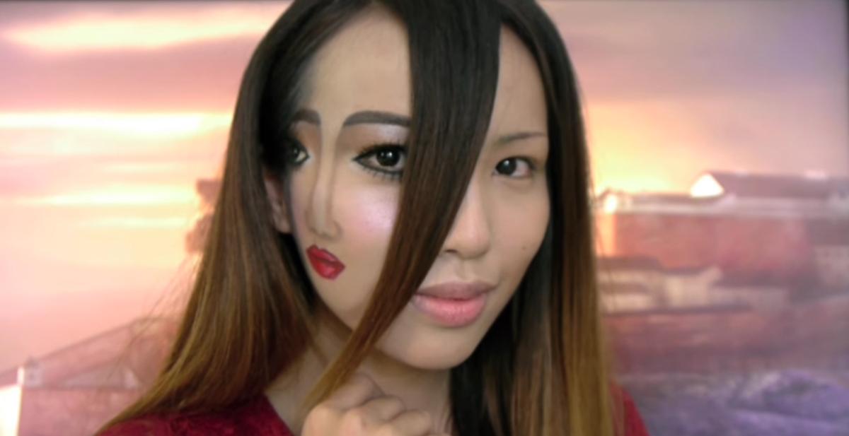 video tutorial de como hacerte un maquillaje de halloween para que parezca que tienes dos caras