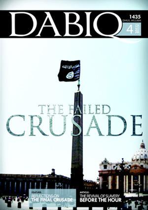 Portada de la revista Dabiq muestra el obelisco de la Ciudad del Vaticano coronado con la bandera del movimiento terrorista.