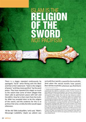 El islam es la religión de la espada, no del pacifismo. Según ISIS.