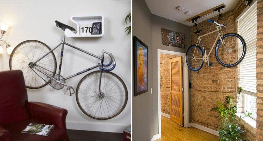 16 nuevas y originales ideas para guardar tu bicicleta en for Como guardar la bici en un piso