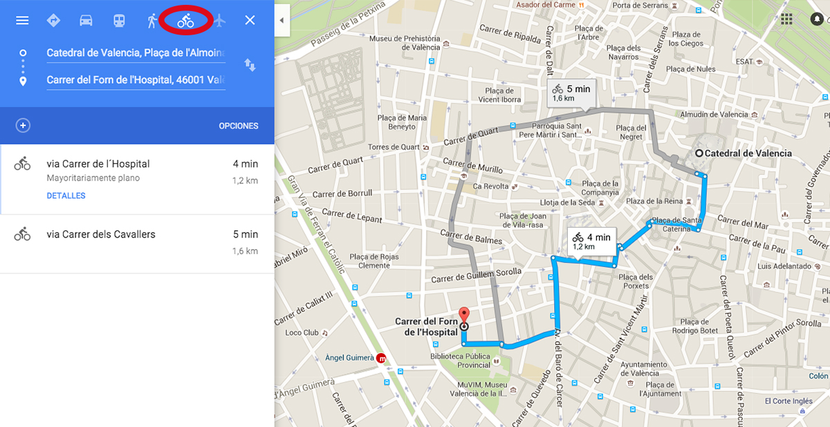 boton de calcular ruta en bicicleta en google maps 1