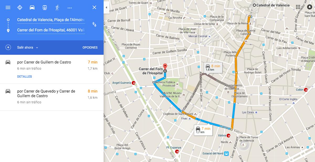 calcular ruta coche