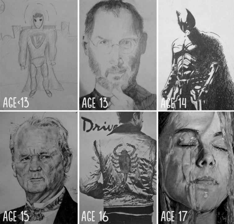 el progreso de la forma de dibujar a los largo de los años de 19 ilustradores 1