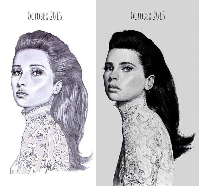 el progreso de la forma de dibujar a los largo de los años de 19 ilustradores 11