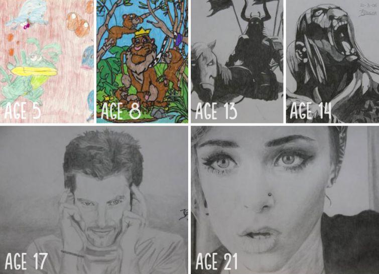 el progreso de la forma de dibujar a los largo de los años de 19 ilustradores 13
