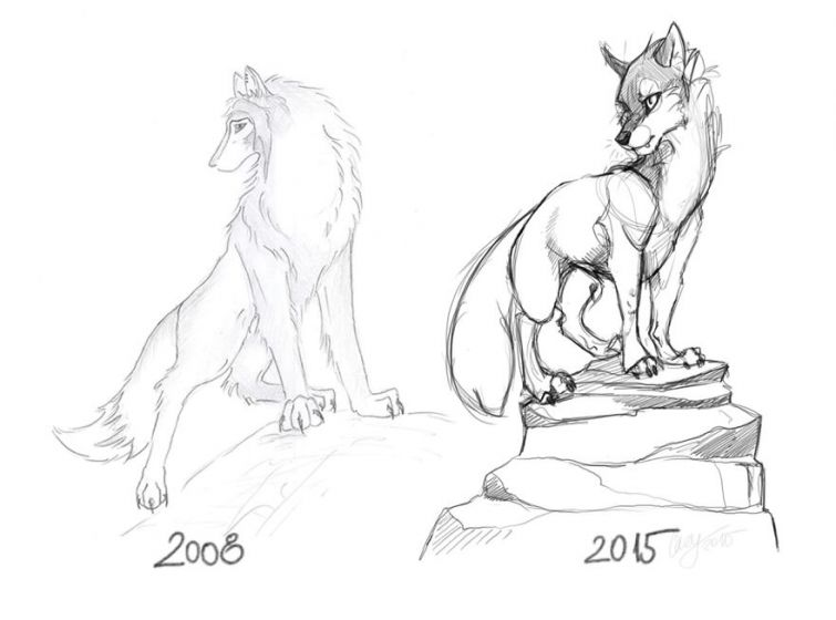 el progreso de la forma de dibujar a los largo de los años de 19 ilustradores 14