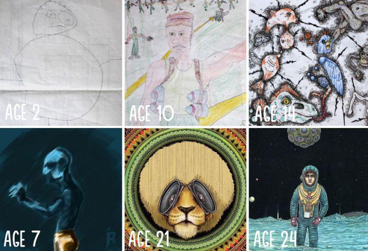 el progreso de la forma de dibujar a los largo de los años de 19 ilustradores 15