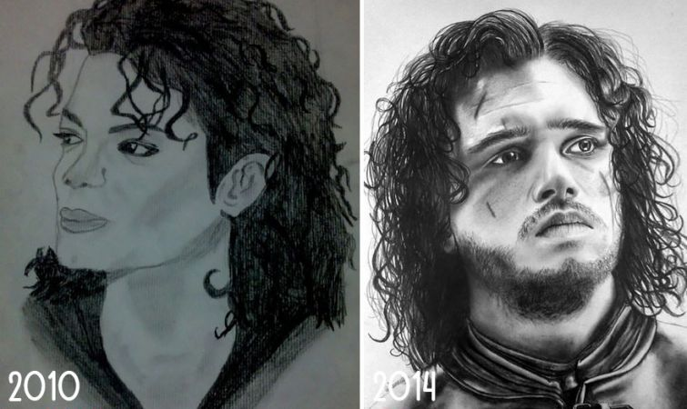 el progreso de la forma de dibujar a los largo de los años de 19 ilustradores 18