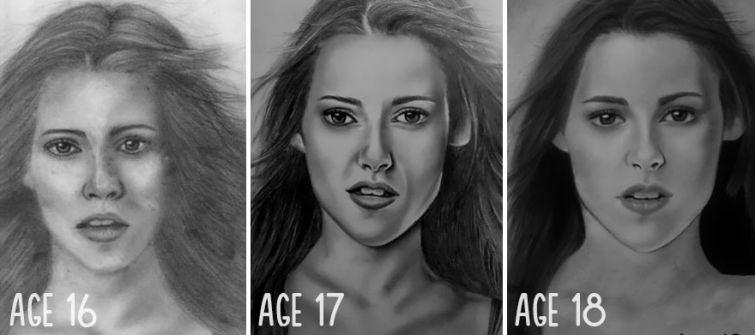 el progreso de la forma de dibujar a los largo de los años de 19 ilustradores 19