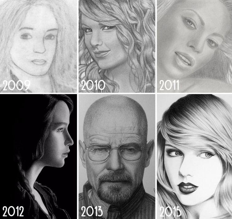el progreso de la forma de dibujar a los largo de los años de 19 ilustradores 2