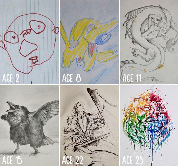 el progreso de la forma de dibujar a los largo de los años de 19 ilustradores 3