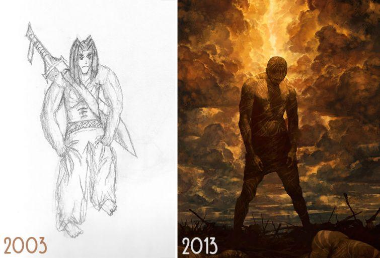 el progreso de la forma de dibujar a los largo de los años de 19 ilustradores 6