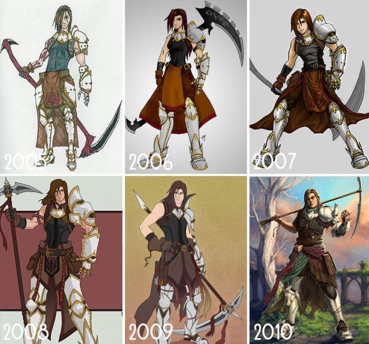 el progreso de la forma de dibujar a los largo de los años de 19 ilustradores 7