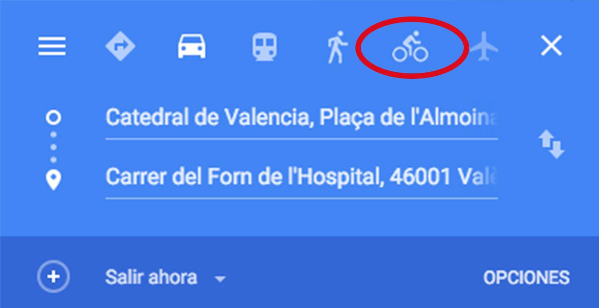 la opcion de calcular rutas en bicicleta ya esta disponible en google maps
