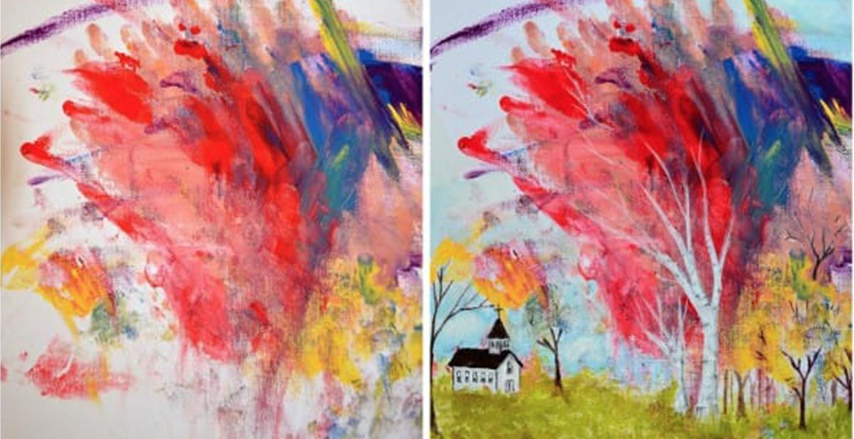 madre e hija pintan cuadros juntas