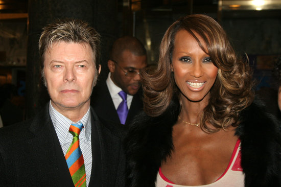 David Bowie and Iman during The Color Purple Broadway Opening Night - Arrivals at The Broadway Theatre in New York City, New York, United States. (Photo by Bruce Glikas/FilmMagic)