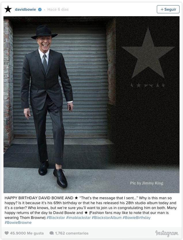 Ultima foto de David Bowie