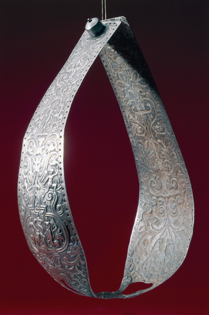 UNSPECIFIED - DECEMBER 29: Richly decorated metal chastity belt, consisting of two panels hinged together. Chastity belts originated in the 15th century. They were devices designed to prevent the female wearer from having sexual intercourse, and incorporated openings to facilitate urination and defecation. They were locked to prevent their removal. (Photo by SSPL/Getty Images)