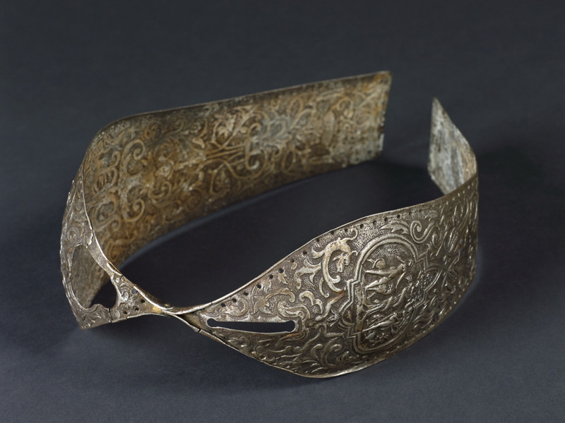 UNITED KINGDOM - SEPTEMBER 20: Metal chastity belt, 15th to 16th century. Metal chastity belt, consisting of two panels hinged together, richly decorated, 15th-16th century. Grey background. Top 3/4 view. (Photo by Science & Society Picture Library/SSPL/Getty Images)