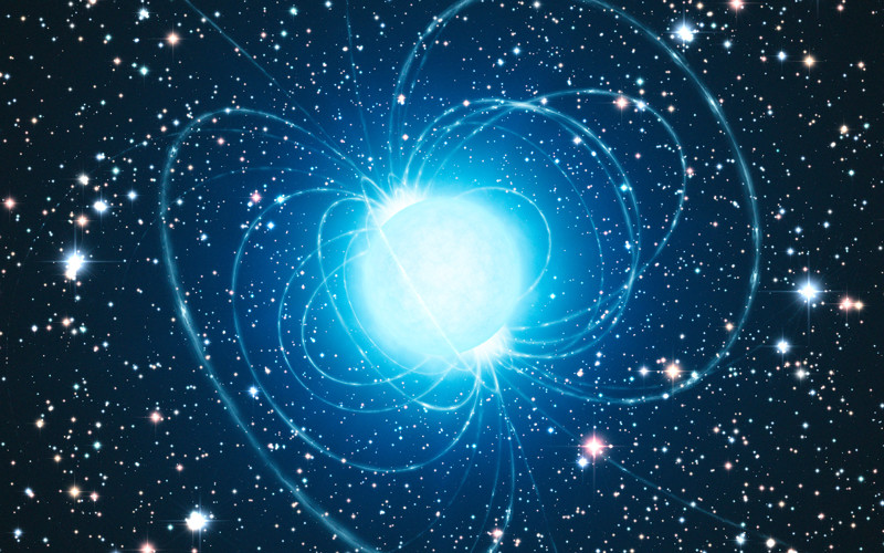This artist's impression shows the magnetar in the very rich and young star cluster Westerlund 1. This remarkable cluster contains hundreds of very massive stars, some shining with a brilliance of almost one million suns. European astronomers have for the first time demonstrated that this magnetar — an unusual type of neutron star with an extremely strong magnetic field — was formed from a star with at least 40 times as much mass as the Sun. The result presents great challenges to current theories of how stars evolve, as a star as massive as this was expected to become a black hole, not a magnetar.