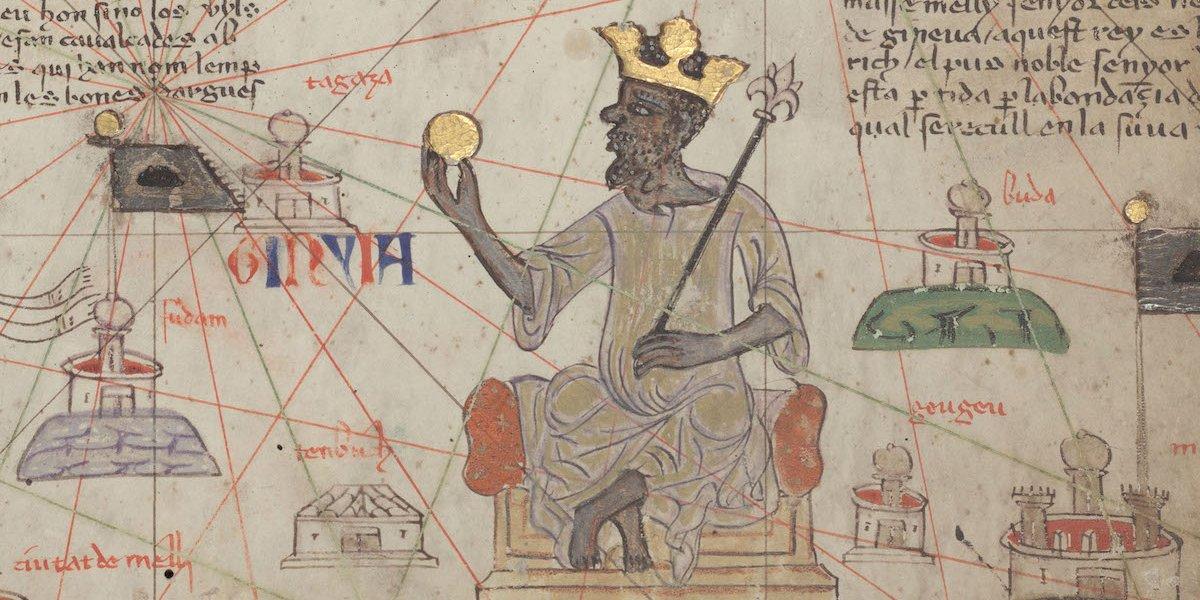 Mansa Musa, tal como se representó en este Atlas Catalán de 1375, uno de los mapas del mundo durante la Europa medieval