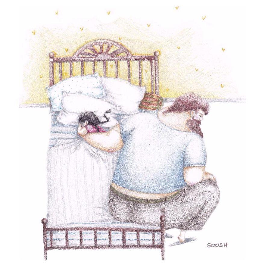 14 ilustraciones que reflejan el amor que sienten los padres por sus hijas 14