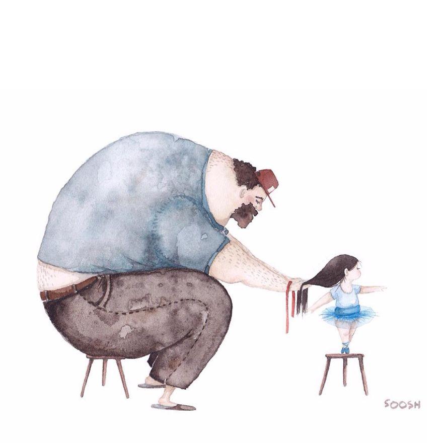 14 ilustraciones que reflejan el amor que sienten los padres por sus hijas 2