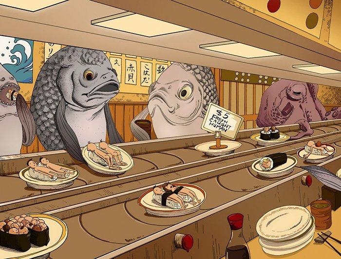 ilustraciones satiricas sobre animales en lugar de personas 18