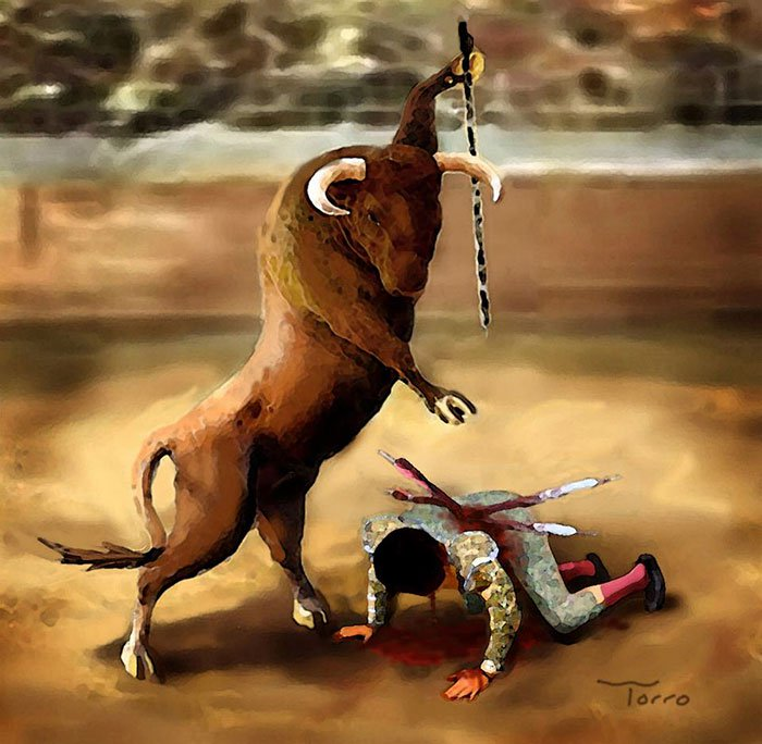 ilustraciones satiricas sobre animales en lugar de personas 2