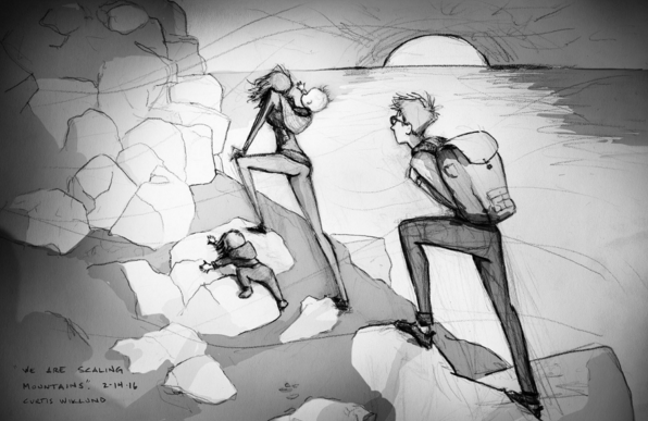 Esta cosa crianza siente como que estamos subiendo por una montaña nueva diariamente. Pero el bebé que estamos haciendo! Y no hay nadie en el mundo preferiría estar haciendo con. Feliz día de San Valentín. El suyo siempre y para siempre, Curtis - Curtis Wiklund (Feb. 14ª, 2016)