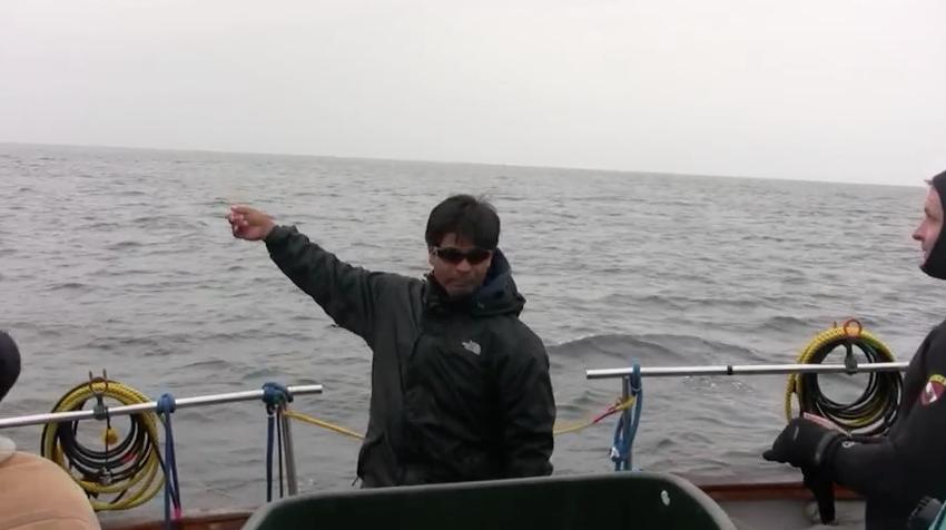 El equipo de James se prepara para sumergirse cerca de la ballena