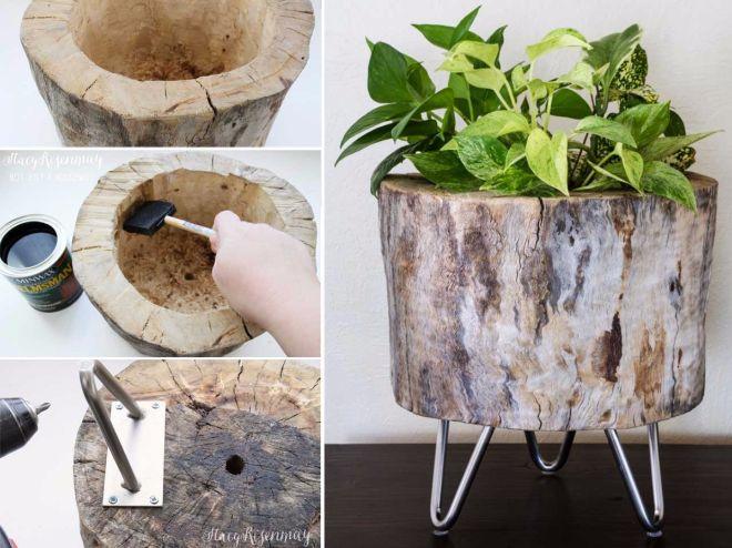 12 Alternativas Naturales A Los Maceteros Y Jardineras De Toda La - Troncos-de-arboles-decorativos