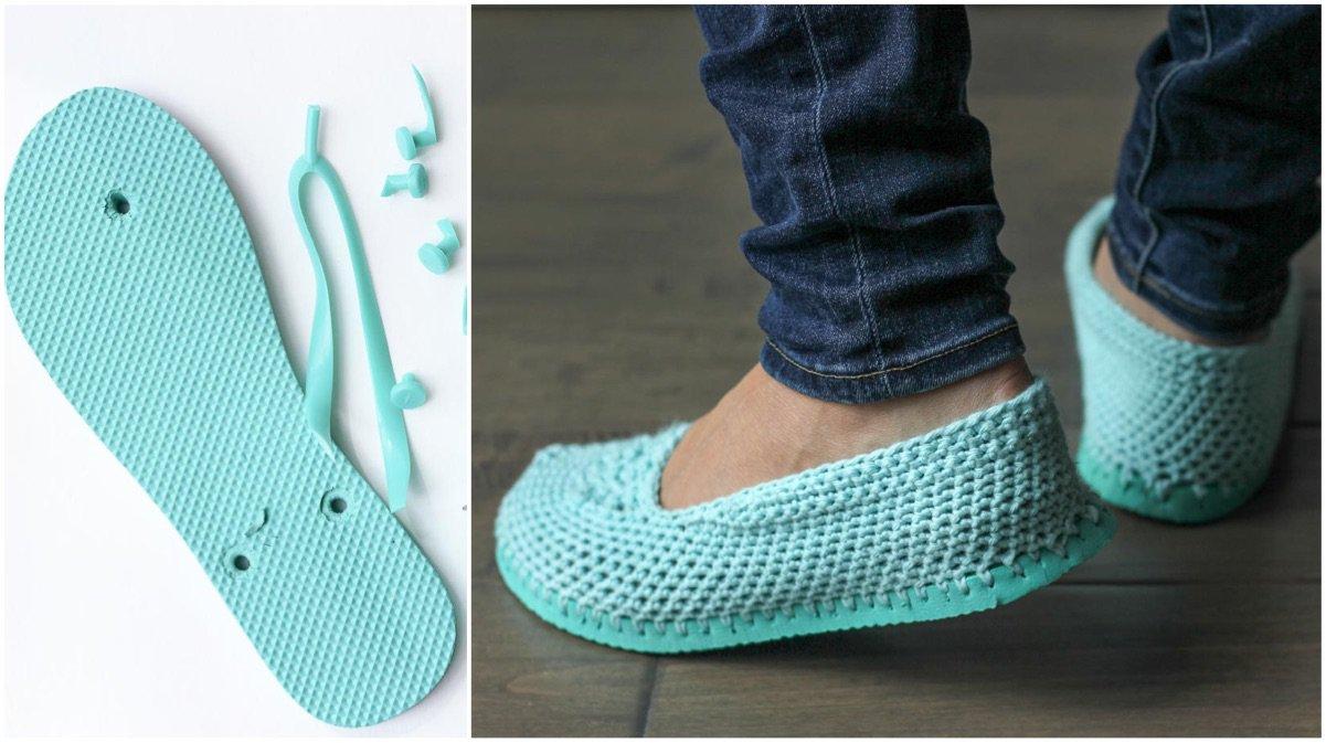 2a149506 Corta la suela de tus chanclas y conviértelas en estas preciosas sandalias de  crochet