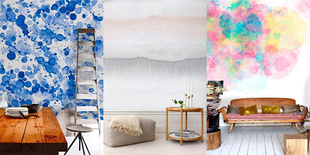 este estilo de decoracin exige que pintemos primero nuestra pared en blanco como si fuera un lienzo despus usando pintura diluida en agua
