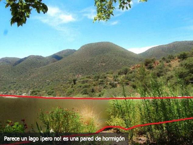 foto con ilusión optica de unas montañas con un lago 2