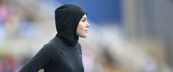 Saudi Arabia's Kariman Abuljadayel gets ready to compete in the Women's 100m Preliminary Round during the athletics event at the Rio 2016 Olympic Games at the Olympic Stadium in Rio de Janeiro on August 12, 2016. / AFP PHOTO / Johannes EISELE